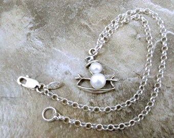 Sterling Silver and Pearl Snowman on Snowboard Charm on a Sterling Silver Rolo Bracelet -2685
