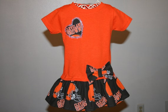 Baby Girls 12 mo CLEVELAND BROWNS FOOTBALL by SewUniqueGifts4U
