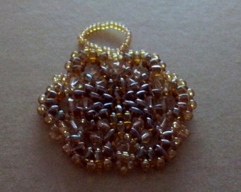 Bead and crystal snowflake / wreath ornament. Gold Shades