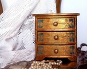 Antique wood  jewelry armoire box , Large Italian Large Jewelry Box Carved Wooden , Christmas Gift .