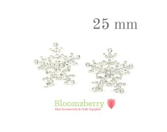 25 mm Rhinestone Flat Back - Snow Flake - Snow Flake Rhinestones - Flat Back Rhinestones - Christmas/Frozen - Hair Accessories Supplies