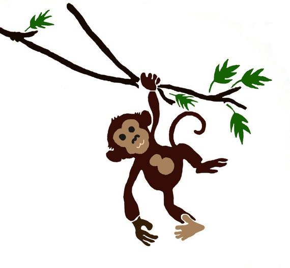 Monkey Stencil Monkey Wall Stencil Childrens