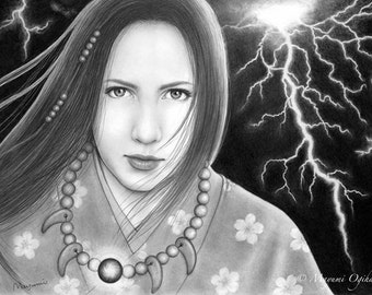 Weather Witch - 11x14 original pencil drawing - Free shipping