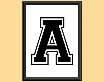 Typography Giclee Print Monogram Initial Wall Art Varsity Letter A