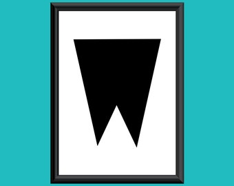 Typography Giclee Print Monogram Initial Wall Art Sybil Letter W