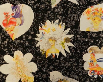 Bloom Princesses on Black  by Clothworks - Fabric By The Half Yard 18 inches x 44 inches