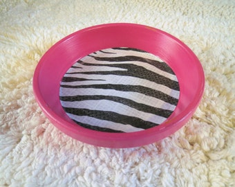 Hot Pink Animal Zebra Print Hand Painted Terra Cotta 5 inch Coaster Dish Home Decor