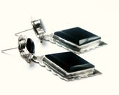 Sterling Silver & Black Earrings / Vintage Mexico