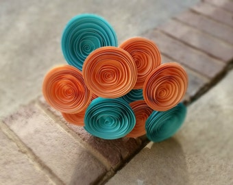 Paper Flower Bouquet - Robin's Egg Blue and Peach Paper Flowers - Handmade Rolled Paper Flower Bouquet for Brides, Weddings, Mother's Day