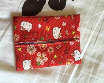 Hello Kitty Chirimen Tissue Pouch (Red)