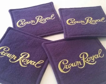 Crown Royal Coasters. Set of 4, Gifts under 20, Barware, Man Cave Decor, Valentine's Day, Gifts for Him, Groomsmen Gifts, Upcycled Coasters