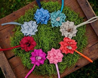 Zinnia Fabric Flowers on Headbands Set