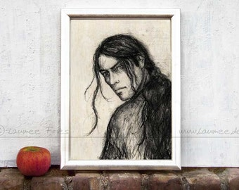 FEANOR. Giclee Fine Art Print. Charcoal Drawing by Laumee. Elven Portrait in black and white. Fantasy Illustration. Wall Art