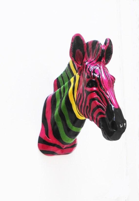 Animal Head, Zebra Head, Faux Taxidermy, Taxidermy, Faux Taxidermied, African Decor, Animal Heads, Faux Zebra Head, Home Decor,
