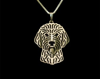 Goldendoodle jewelry - gold pendant and necklace. ...