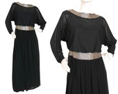 Custom-Made 1970s Vintage Beaded Evening Gown Maxi Dress LBD Black Silver Size 6 Small