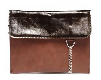 SALE Elegant leather clutch bag, leather wristlet, leather handbag, minimalist leather bag, leather purse, unique gift for women, minimalist
