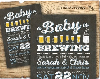 BBQ & Beer baby shower invitation - beer diaper party invitation - coed baby shower- boy baby shower - chalkboard baby shower invitation