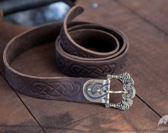 DISCOUNTED PRICE! Viking Embossed Leather Belt; Ready to Ship! In Stock; Fixed Size