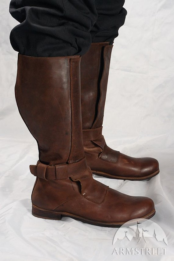 Mens High Leather Boots In Renaissance Style