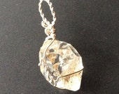 Angel Gate Herkimer Diamond Crystal Pendant silver wrapped