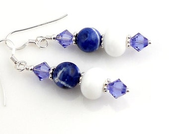 Blue and White Crystal and Gemstone Dangle Earrings, Beaded Earrings, Drop Earrings, Gifts, Women's Jewelry, Fashion Accessories, Valentine