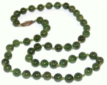 """Vintage 1960s Nephrite Green SPINACH JADE Bead 18"""" NECKLACE Hand Knotted Silk Gold Filled Clasp Edwardian Nouveau Fashion Statement Jewelry"""