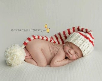 Newborn Baby CHRISTMAS Knitted Striped Elf Hat for Photography Props