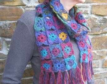Crochet scarf.  Handcrocheted. Unique. Cosy and colourful. OOAK. Generous fringe.