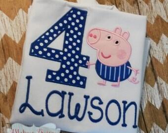 Peppa George Birthday Custom Tee Shirt - Customizable -  Infant to Youth 154