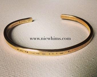 Handstamped Morse Code Cuff, Morse Code Jewelry, Morse Code Bracelet, Personalized Bracelet, Morse Code, Code Jewelry, Graduation Gift