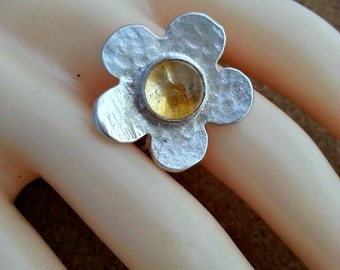 Citrine Ring Flower Ring Silver Ring November Birthstone Gemstone Ring