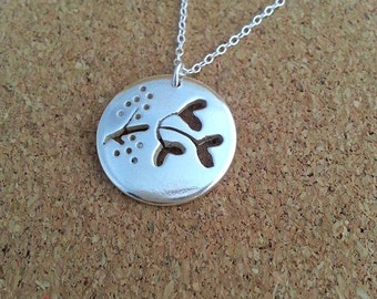 Mistletoe Leaf Silver Pendant  Silver Necklace Jewellery Ideal Christmas Gift Jewellery