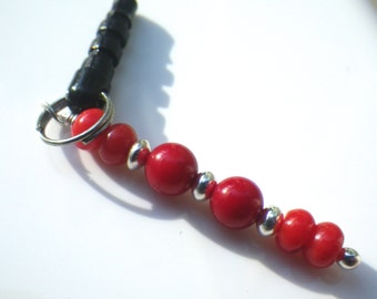 Red Coral Cell Phone Charm