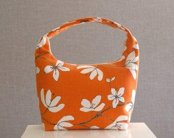 Large Lunch Bag Insulated, Women Lunch Bag, Women Small Purse,Fabric Lunch Bag,Eco Friendly Lunch Tote,White Floral Print on Orange West Elm