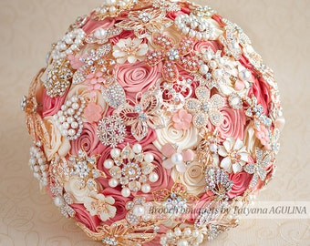 Brooch bouquet. Coral, Ivory and Gold wedding brooch bouquet