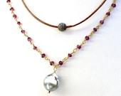 Pave Diamond bead leather necklace, pave diamond ball pendant on leather , beachy, yoga jewelry, boho, spring ,Coachella