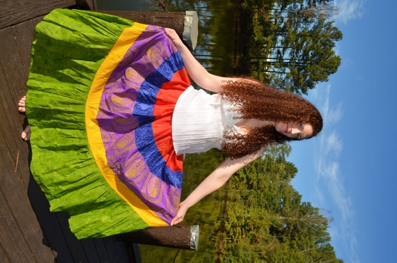 Long Patchwork Skirt- Gypsy Hippie Tiered Twirl Skirt