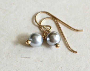 Small Pearl Earrings-White Or Gray Flower Girl Earrings-Wedding Earrings-Gift for Her-Gift for Mom-Gifts Under 30