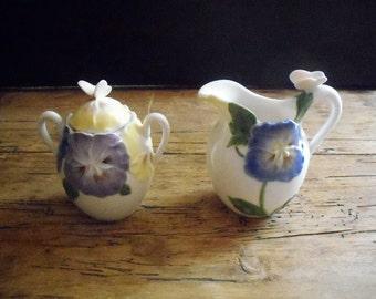 Vintage Sugar and Cream Set ( Pansies and Butterflies)