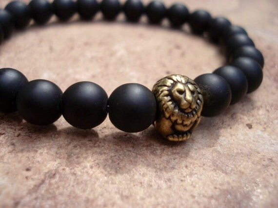 Black Onyx Bracelet, Lion Bracelet, Onyx Bracelet, Bracelets For Men, Mens Bracelet, Beaded Bracelet, Men Jewelry, Bracelets For Women