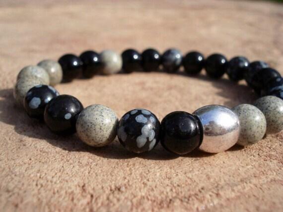Mens Black Bracelet, Black Mens Bracelet, Bracelet for Men, Mens Bracelet, Womens Bracelet, Stretch Bracelet, Gemstone Beaded Bracelet