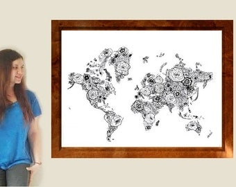 BIG SIZE - Flower World Map Print from Original Drawing