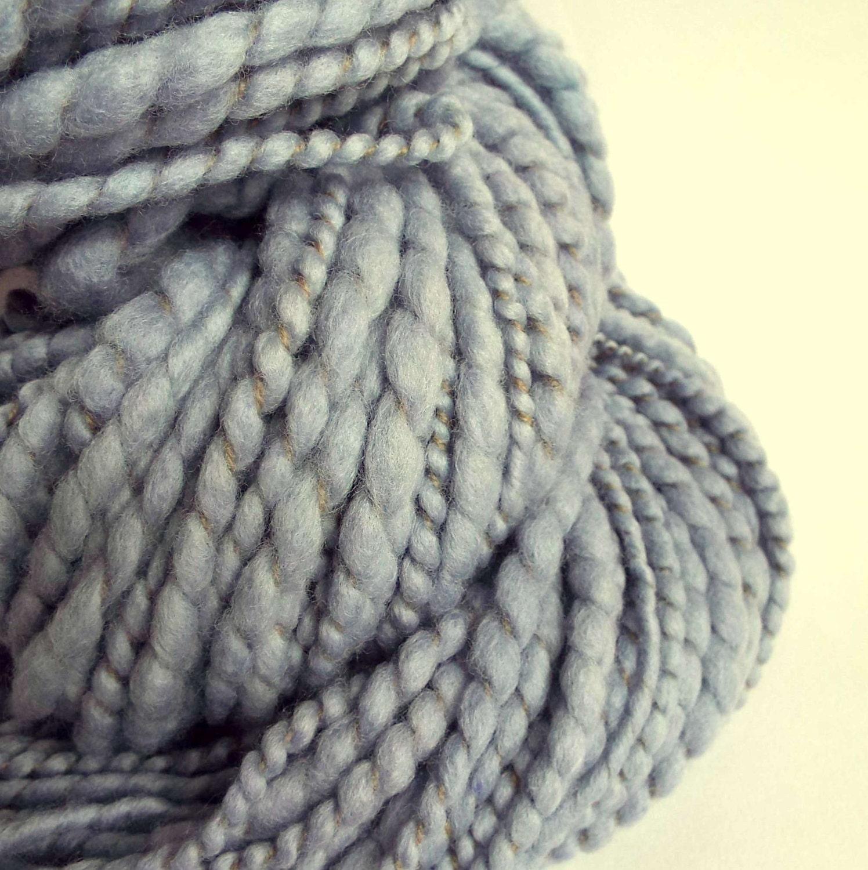 Knitting Handspun Wool : Blue knitting wool bulky yarn handspun by