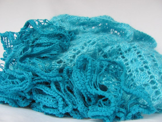 Hand knitted turquoise mohair lace shawl wrap with ruffles