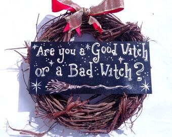 Good Witch Bad Witch Halloween Wreath, Wizard of Oz Inspired Hanging Wreath, Seasonal Wreath, Witch Broom Wreath, Halloween Wall Hanging
