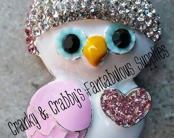 Cute Snow Owl with heart 52mm x 43mm  Enamel with Rhinestones Pendant - Animal valentines day