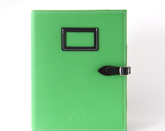 2 in 1 Handmade Leather iPad Case and Stand - Emerald Green & Black