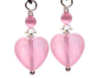 Pink Heart & Swarovski Charm Dangle Hand Wire Wrapped Drop (2 or 4 charms)