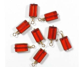 Red Window Cut (Table Cut) Charm Dangle Hand Wire Wrapped Drop (2, 4, 6, or 8)